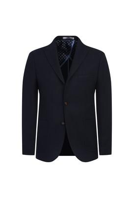 Erkek Giyim - KOYU LACİVERT 54 Beden Slim Fit Örme Ceket