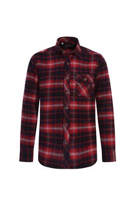 Erkek Giyim - AÇIK KIRMIZI M Beden Uzun Kol Ekose Klasik Gömlek