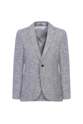 Erkek Giyim - KREM 50 Beden Klasik Desenli Ceket
