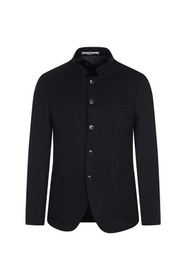 Erkek Giyim - SİYAH 46 Beden Slim Fit Dik Yaka Ceket