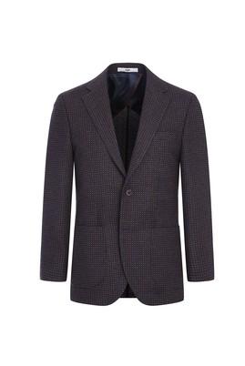 Erkek Giyim - ORTA KAHVE 50 Beden Regular Fit Yünlü Desenli Ceket