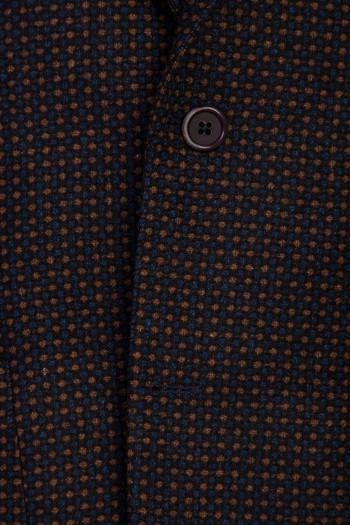 Erkek Giyim - Regular Fit Yünlü Desenli Ceket