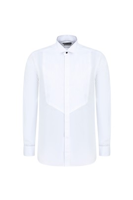 Erkek Giyim - BEYAZ S Beden Ata Yaka Slim Fit Gömlek