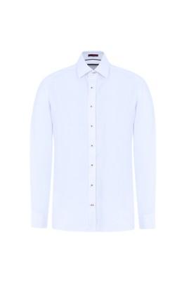 Erkek Giyim - BEYAZ M Beden Uzun Kol Desenli Gömlek