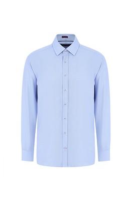Erkek Giyim - SU MAVİSİ 3X Beden Uzun Kol Desenli Gömlek