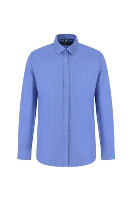 Erkek Giyim - KOYU MAVİ L Beden Uzun Kol Oxford Slim Fit Gömlek