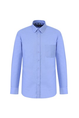 Erkek Giyim - MAVİ L Beden Uzun Kol Oxford Klasik Gömlek