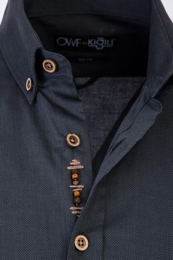 Erkek Giyim - Uzun Kol Tasarım Slim Fit Gömlek