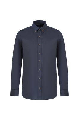 Erkek Giyim - ORTA PETROL L Beden Uzun Kol Tasarım Slim Fit Gömlek