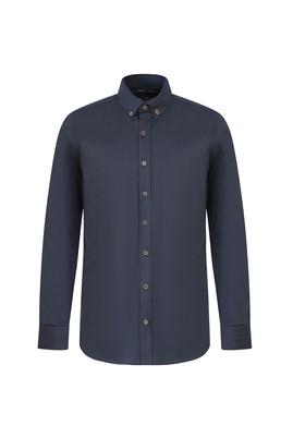 Erkek Giyim - ORTA PETROL L Beden Uzun Kol Slim Fit Gömlek