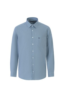 Erkek Giyim - ÇİMEN YEŞİLİ L Beden Uzun Kol Desenli Klasik Gömlek