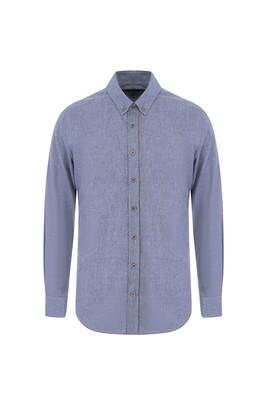 Erkek Giyim - ORTA GRİ L Beden Uzun Kol Tasarım Slim Fit Gömlek
