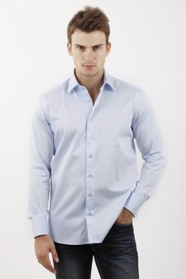 Erkek Giyim - AÇIK MAVİ XS Beden Uzun Kol Saten Slim Fit Gömlek