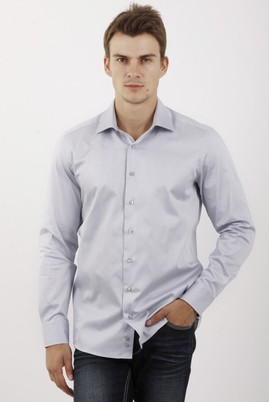 Erkek Giyim - AÇIK GRİ XS Beden Uzun Kol Slim Fit Saten Gömlek