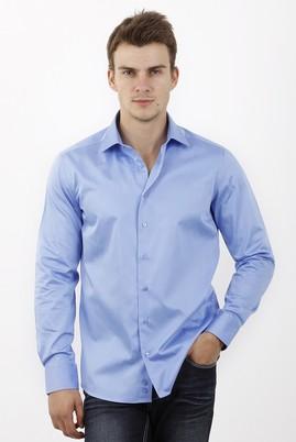 Erkek Giyim - MAVİ S Beden Uzun Kol Slim Fit Saten Gömlek