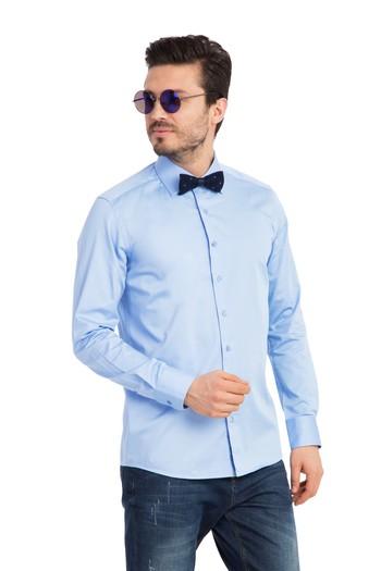 Erkek Giyim - Uzun Kol Saten Slim Fit Gömlek