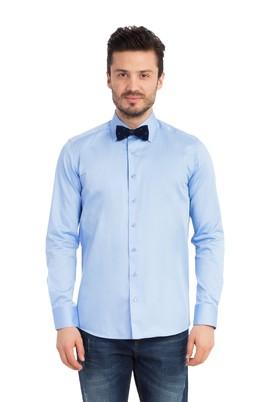 Erkek Giyim - MAVİ S Beden Uzun Kol Saten Slim Fit Gömlek