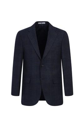 Erkek Giyim - KOYU LACİVERT 52 Beden Klasik Yünlü Desenli Ceket