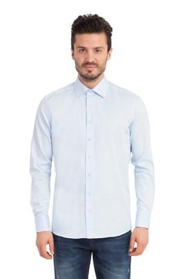 Erkek Giyim - AÇIK MAVİ S Beden Uzun Kol Saten Slim Fit Gömlek
