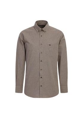 Erkek Giyim - ORTA KAHVE L Beden Uzun Kol Desenli Klasik Gömlek