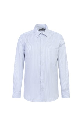 Erkek Giyim - KOYU MAVİ XXL Beden Uzun Kol Çizgili Klasik Gömlek