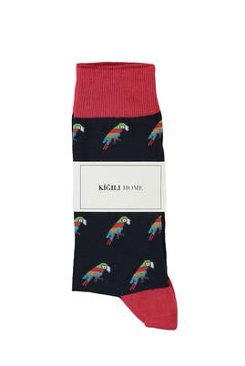 Erkek Giyim - ORTA LACİVERT 40-44 Beden Tekli Desenli Çorap