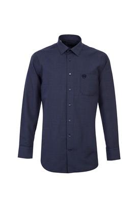 Erkek Giyim - ORTA LACİVERT M Beden Uzun Kol Desenli Gömlek