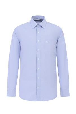 Erkek Giyim - SAKS MAVİ XL Beden Uzun Kol Çizgili Klasik Gömlek