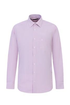 Erkek Giyim - AÇIK KIRMIZI M Beden Uzun Kol Çizgili Klasik Gömlek
