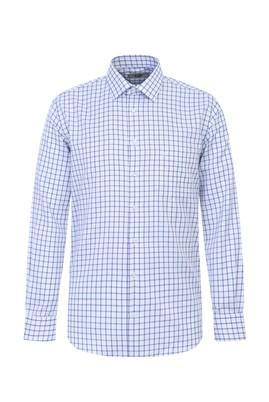 Erkek Giyim - MAVİ 4X Beden Uzun Kol Regular Fit Kareli Gömlek