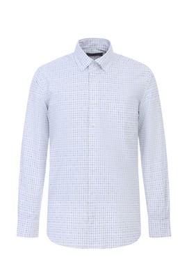 Erkek Giyim - AÇIK LACİVERT L Beden Uzun Kol Ekose Gömlek