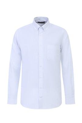 Erkek Giyim - UÇUK MAVİ L Beden Uzun Kol Ekose Gömlek