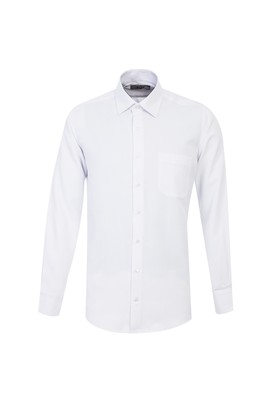 Erkek Giyim - BEYAZ L Beden Uzun Kol Desenli Klasik Gömlek