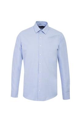Erkek Giyim - GÖK MAVİSİ L Beden Uzun Kol Desenli Slim Fit Gömlek