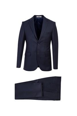 Erkek Giyim - ORTA LACİVERT 46 Beden Slim Fit Desenli Takım Elbise