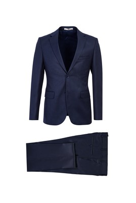 Erkek Giyim - KOYU LACİVERT 46 Beden Slim Fit Desenli Takım Elbise