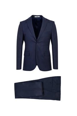 Erkek Giyim - ORTA LACİVERT 46 Beden Slim Fit Çizgili Takım Elbise