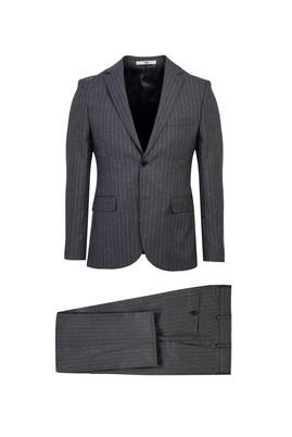 Erkek Giyim - ORTA GRİ 46 Beden Slim Fit Çizgili Takım Elbise