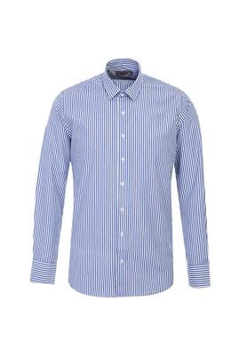 Erkek Giyim - GÖK MAVİSİ L Beden Uzun Kol Çizgili Slim Fit Gömlek