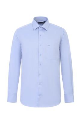 Erkek Giyim - KOYU MAVİ L Beden Uzun Kol Desenli Klasik Gömlek