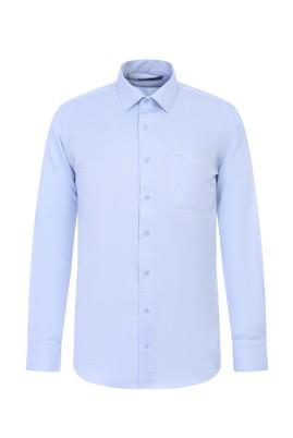 Erkek Giyim - UÇUK MAVİ L Beden Uzun Kol Desenli Klasik Gömlek