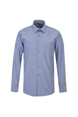 Erkek Giyim - KOYU MAVİ 4X Beden Uzun Kol Çizgili Klasik Gömlek