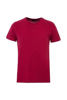 Erkek Giyim - AÇIK BORDO L Beden Bisiklet Yaka Slim Fit Tişört