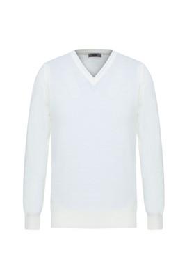 Erkek Giyim - EKRU 3X Beden V Yaka Regular Fit Triko Kazak