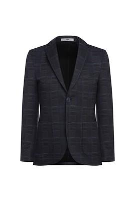 Erkek Giyim - SİYAH 48 Beden Regular Fit Örme Ekose Ceket