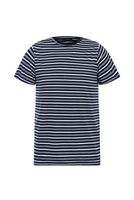 Erkek Giyim - AÇIK LACİVERT L Beden Bisiklet Yaka Çizgili Slim Fit Tişört