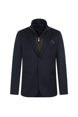 Erkek Giyim - AÇIK PETROL 52 Beden Dik Yaka Slim Fit Ceket