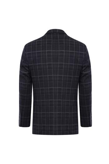 Erkek Giyim - Regular Fit Örme Ekose Ceket