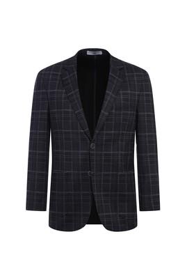 Erkek Giyim - KOYU ANTRASİT 54 Beden Regular Fit Örme Ekose Ceket