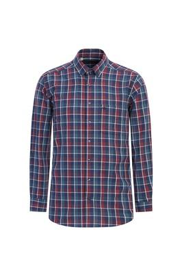 Erkek Giyim - ORTA LACİVERT XL Beden Uzun Kol Regular Fit Ekose Oduncu Gömlek